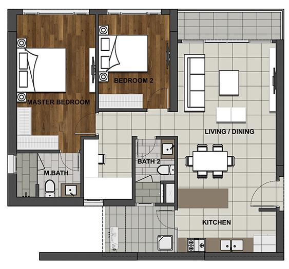 2BL-2 104.6 m2 - 93.3 m2