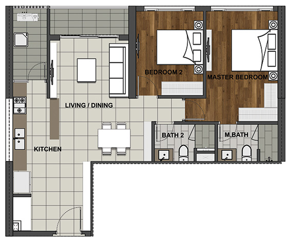 2BS 91 m2 - 82.4 m2