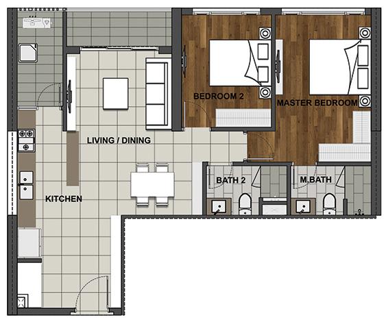 2BS-B 93.3 m2 - 84.7 m2