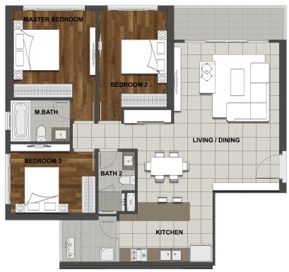 3BS-2 124.9 m2 - 113.3 m2